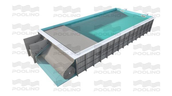 Poolino® PP Skimmerpool 8,00 x 3,50m mit Rolladenabdeckung