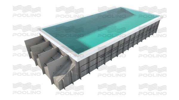 Poolino® PP Überlaufpool 6,00 x 3,30m mit Rolladenabdeckung