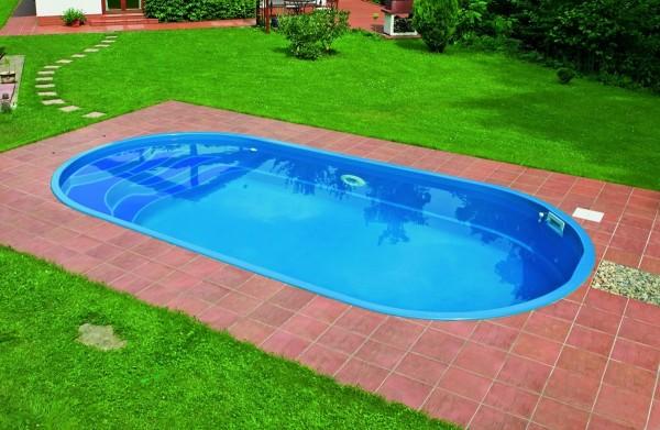 Rhodos 600 x 300 x 140cm Fiberglaspool GFK Vinylester Pool