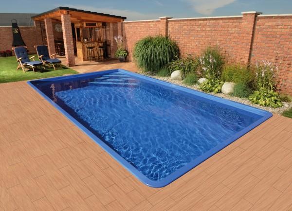 Athen 620 x 310 x 140cm Fiberglaspool GFK Vinylester Pool
